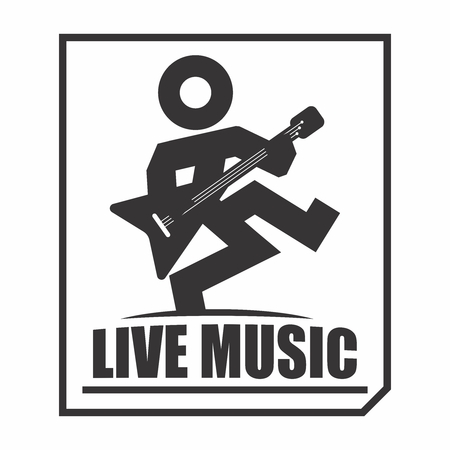 death metal: Vector Rock and Roller Music Band Player Outline Illustration, isolated on white background