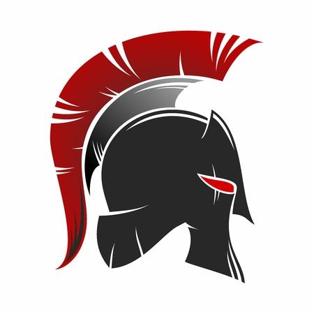Spartan Helmet Silhouette Illustration isolated on white background Vettoriali
