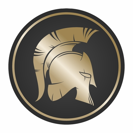 artifact: Spartan Shield and Helmet Illustration, gold color isolated on white background