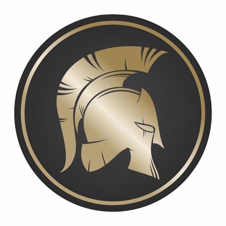 Spartan Shield et Helmet Illustration, couleur or isolé sur fond blanc