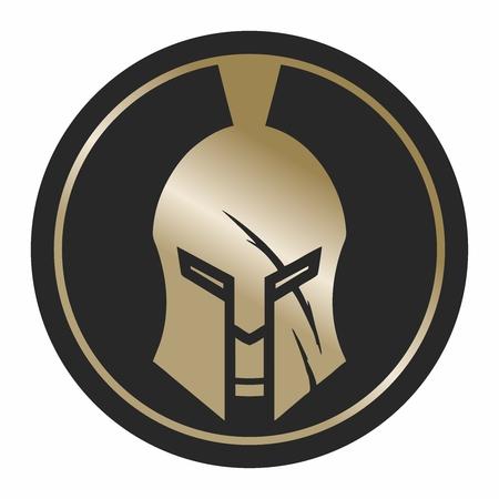 Spartaanse Schild en Helm Illustratie, goudkleur geïsoleerd op een witte achtergrond Stockfoto - 60145710