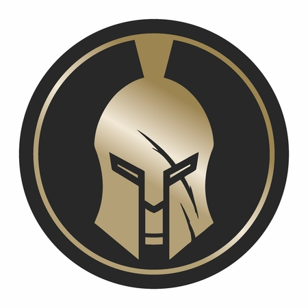Spartan Shield and Helmet Illustration, gold color isolated on white background