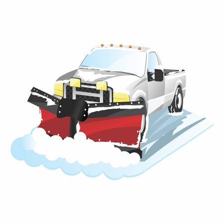 Funny Cartoon Plowing Truck, snow removal Çizim