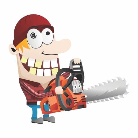 Funny Cartoon Gardner, Chainsaw chopping down trees