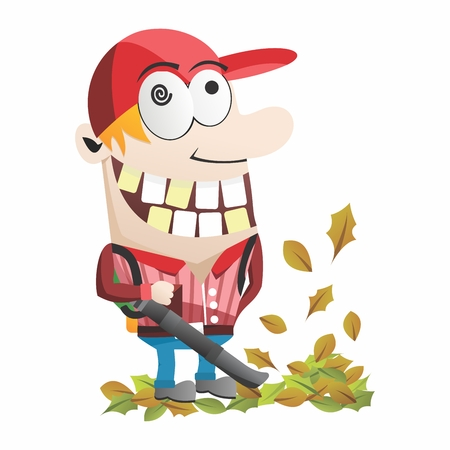 backyard work: Funny Cartoon Gardner, Backpack Leaf Blower cleaning up autumn falling leaves