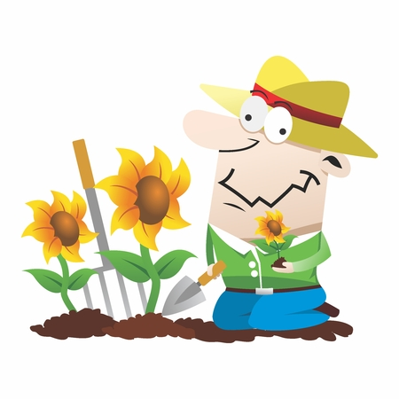 psychopath: Funny Cartoon Gardner, Planting Sunflower into soil