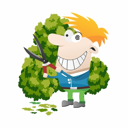 Funny Cartoon Gardner, Trimming Bushes with Shears