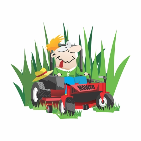 Funny Cartoon Gardner, Lawn Mowing on Riding Mower