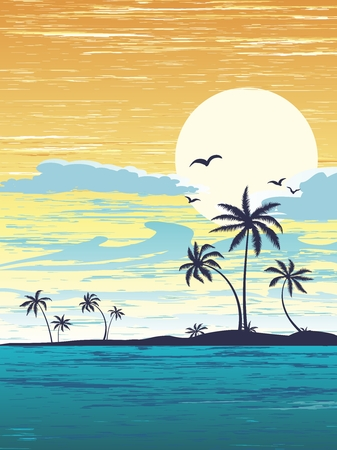 sunset beach: Tropical Summer Holiday Background illustration, sunshine, beach, palm tree and seaside