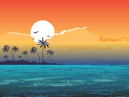 Tropical Summer Holiday Background illustration, sunshine, beach, palm tree and seaside