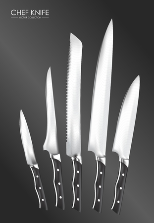 paring knife: Realistic Chef Knife Set Rendering isolated on white background