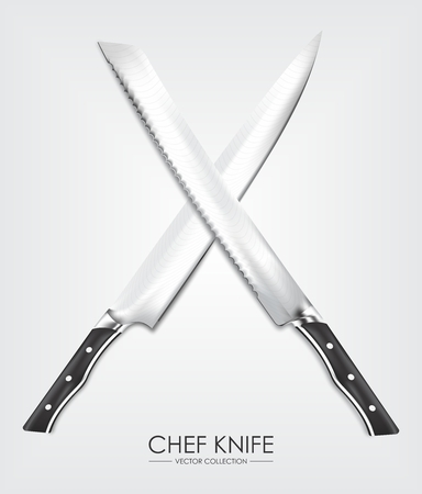 chef knife: Realistic Chef Knife Set Rendering isolated on white background