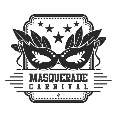 Vintage icon of Masquerade Carnival, monochrome isolated on white background