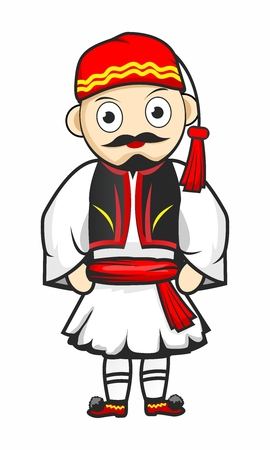 Cartoon Greek Parade Soldier Costume isolated on white background