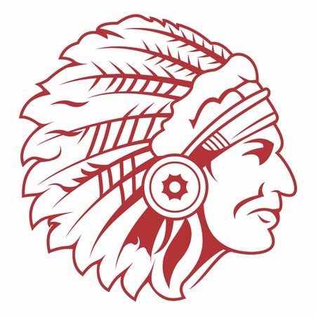 indian chief mascot: Retro Indian Chief Headdress Tattoo isolated on white background