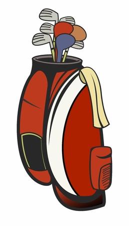 deportes caricatura: Rojo retro bolsa de golf Ilustración aislada en el fondo blanco