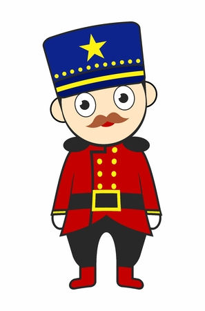 Cartoon European Parade Soldier Costume isolated on white background