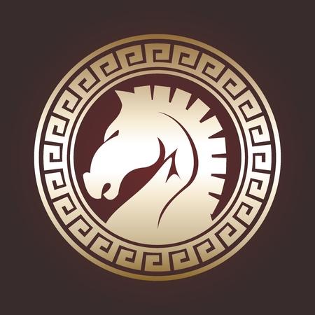 greek gods: Retro Artistic Trojan Horse Emblem Design
