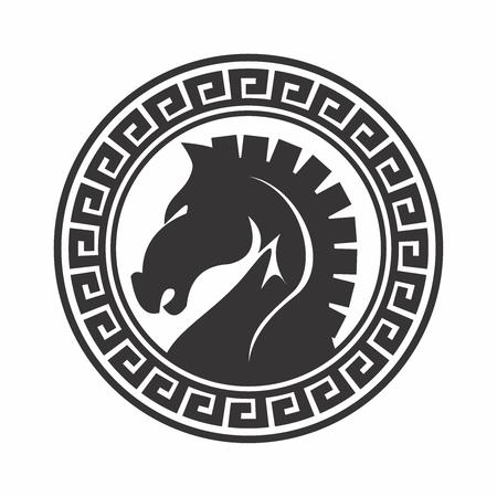 Retro artístico caballo de Troya El diseño del emblema