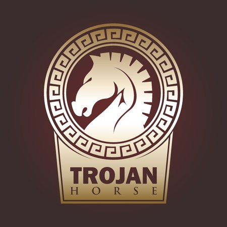 Retro artistico cavallo di Troia emblema design