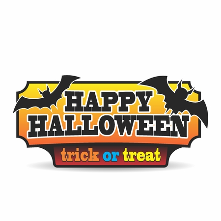 Vector Retro Halloween Sign Illustration isolated on white background