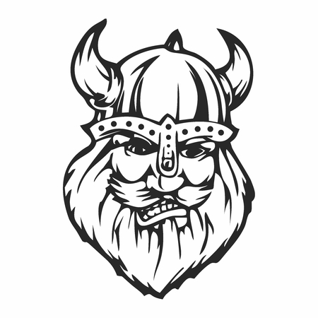 Vector Viking Warrior Face Outline Sketch, isolated on white background