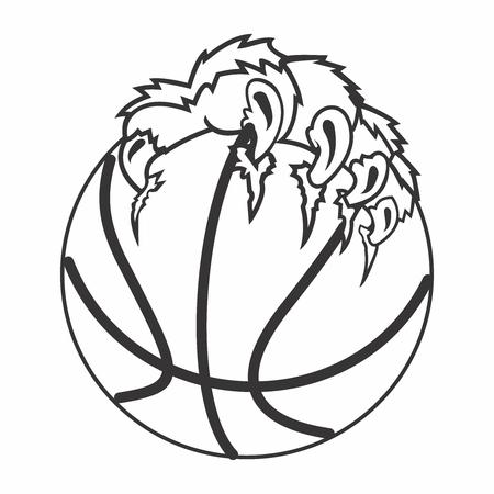 Vector Basketbal en Claw Illustratie, op een witte achtergrond