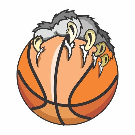 バスケット ボール、爪図では、白い背景で隔離をベクトルします。  イラスト・ベクター素材