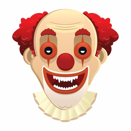 stage makeup: Vector Scary Clown Face Illustration, isolated on white background