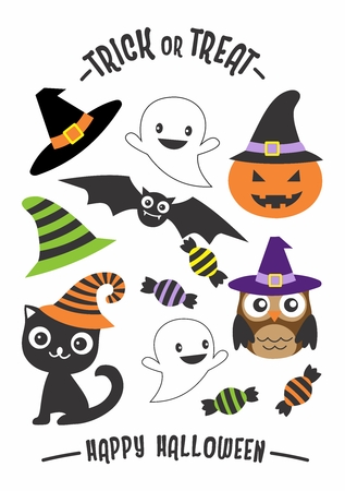 Vector Halloween Graphics Elements isolated on white background Illustration