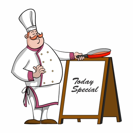 cooking chef: Vector Cartoon Chef with saucepan illustration, introducing today specials menu