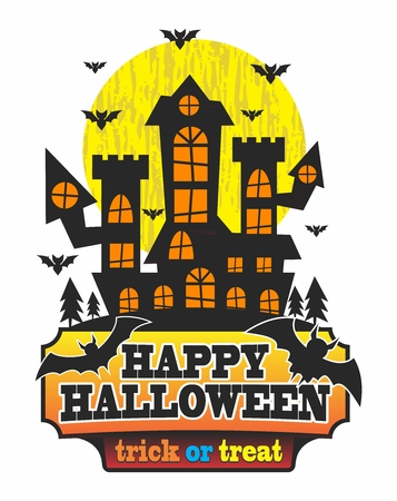 ghost house: Vector Halloween Haunted Maison Illustration, isolated on white background
