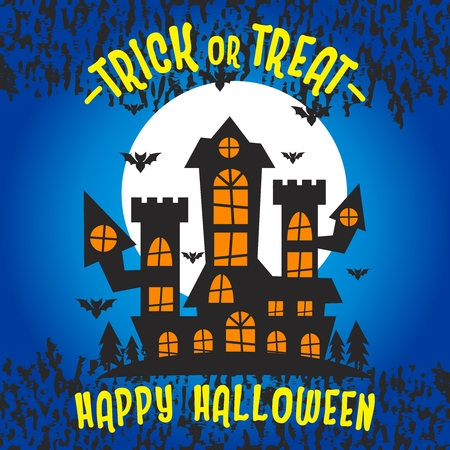Vector Halloween Haunted Maison Illustration, Trick or Treat celebrating for Happy Halloween Illustration