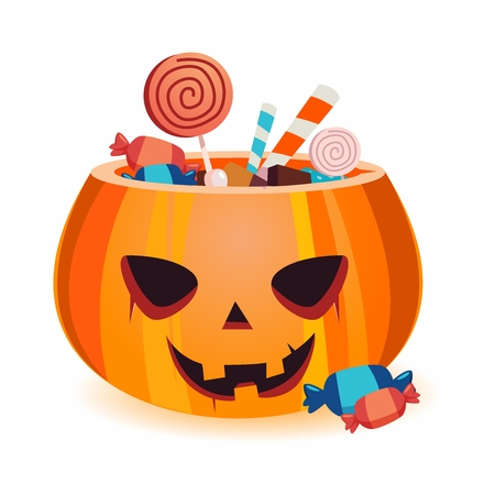 Vector Halloween Candy Pumpkin Basket Illustration isolated on white background 向量圖像