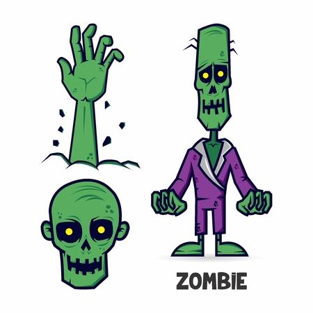 calavera caricatura: Elementos del vector del zombi espeluznante aislado, aumento lado, el cráneo y el cadáver