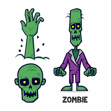 corpse: Vector Creepy Zombie Elements isolated, hand rise, skull and corpse