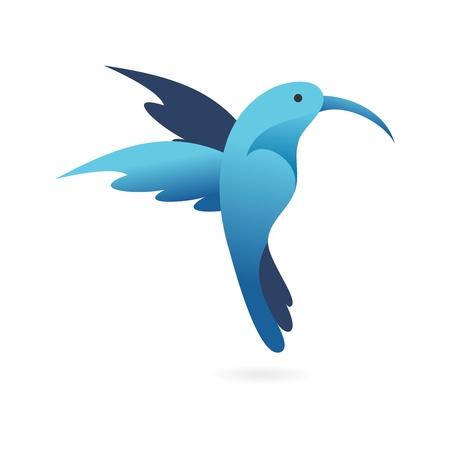Vector 3D Artistic Blue Flying Hummingbird Illustration, isolated on white background Illustration