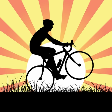 cycling helmet: Vector Athlete Male Cyclist Riding bicycle in Wild, on sunburst poster background Illustration