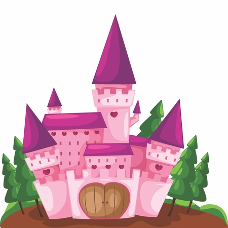 Vector Cartoon Illustration of a Cute Pink Castle Background Illustration