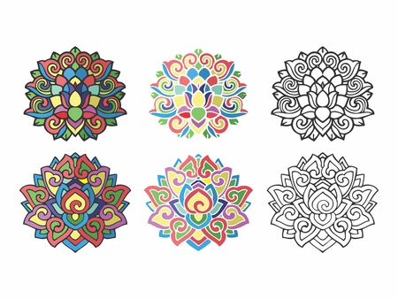 folks: Vector Abstract Colorful Vintage Nostalgia Religious Ornament Decor Illustration