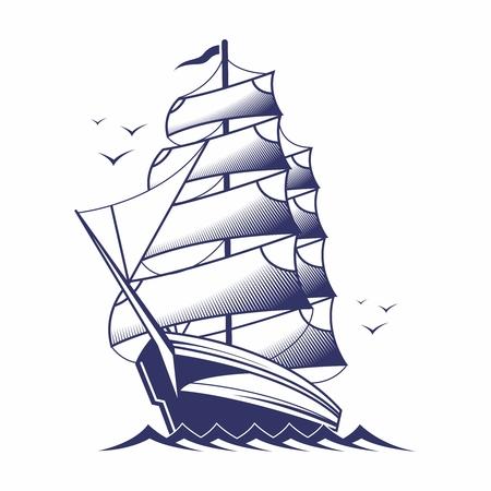 frigate: Vector Vintage Monochrome Wooden Frigate Sailing on Open Sea Illustration