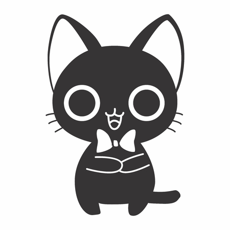 welcoming: Vector Cute Adorable Cartoon Black Cat Figure, isolated on white background