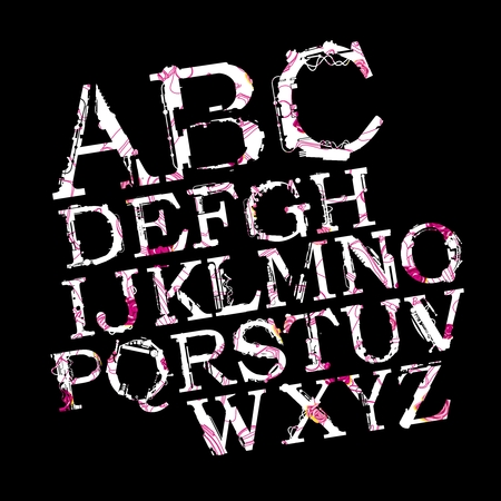 airbrush: Vector Stylish Airbrush A to Z Typography on black background Illustration