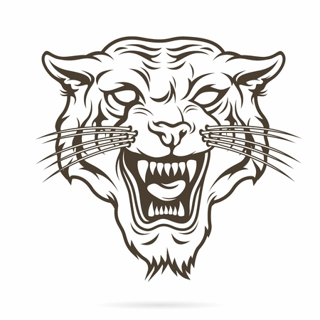 canines: Vector Tribal Tattoo Illustration of Angry Aggressive Tiger Face with Open Mouth and Canines showing