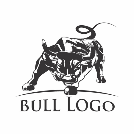 Vector Charging Bull Silhouette Illustration Template
