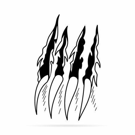 Vector Monochrome Monster Claws Tearing and Scratching the wall background Illustration
