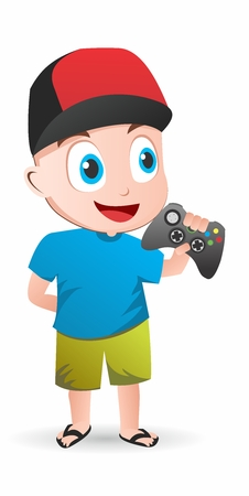 gamer: Vector Cartoon Geek Gamer Child isolated on white background
