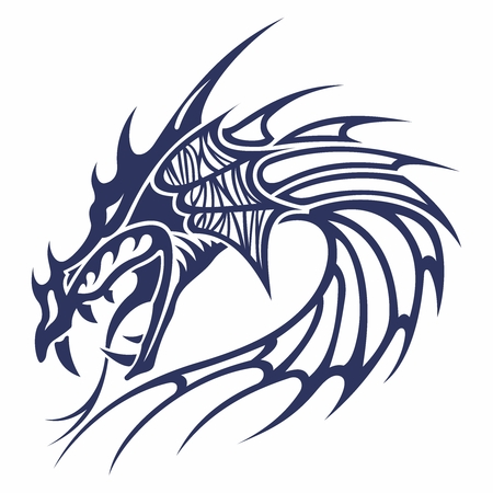 Vector Stylish Monochrome Dragon Tattoo, isolated on white background