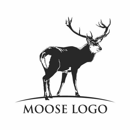 venado: Ilustración del vector retro Hombre alces ciervos silueta, aislado en fondo blanco