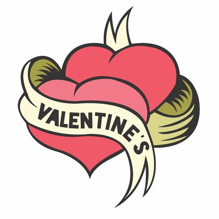 rouge: Vector Retro Valentines Hearts Illustration with Ribbon, isolated on white background Illustration